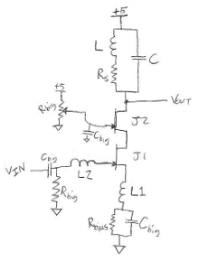 Pencil sketch of JFET amplifier