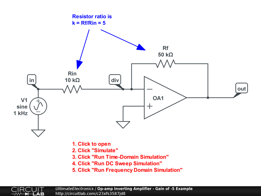 Op-amp Inverting Amplifier - Gain of -5 Example