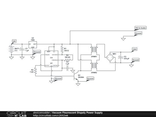 vacuum flourescent dispaly power supply