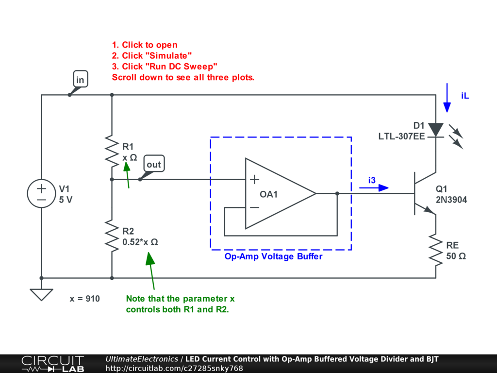 LED Current Control with Op-Amp Buffered Voltage Divider and BJT