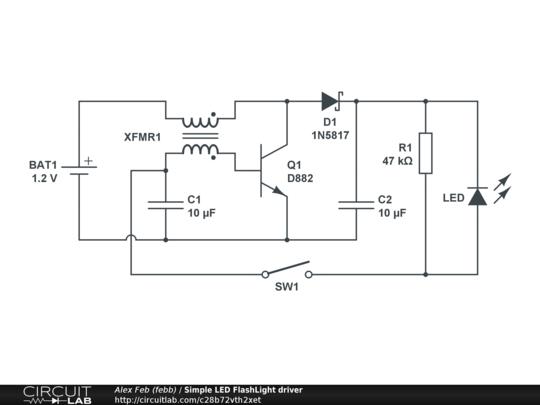 simple led flashlight driver - circuitlab flashlight schematic diagram easy simple torch diagram circuitlab
