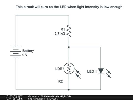 LED Voltage Divider (Light Off) - CircuitLab