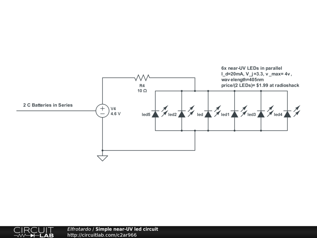 Simple Near Uv Led Circuit Circuitlab Schematic Circuits For The Hobbyist Pdf Electronics