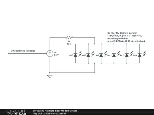 Simple near-UV led circuit - CircuitLab