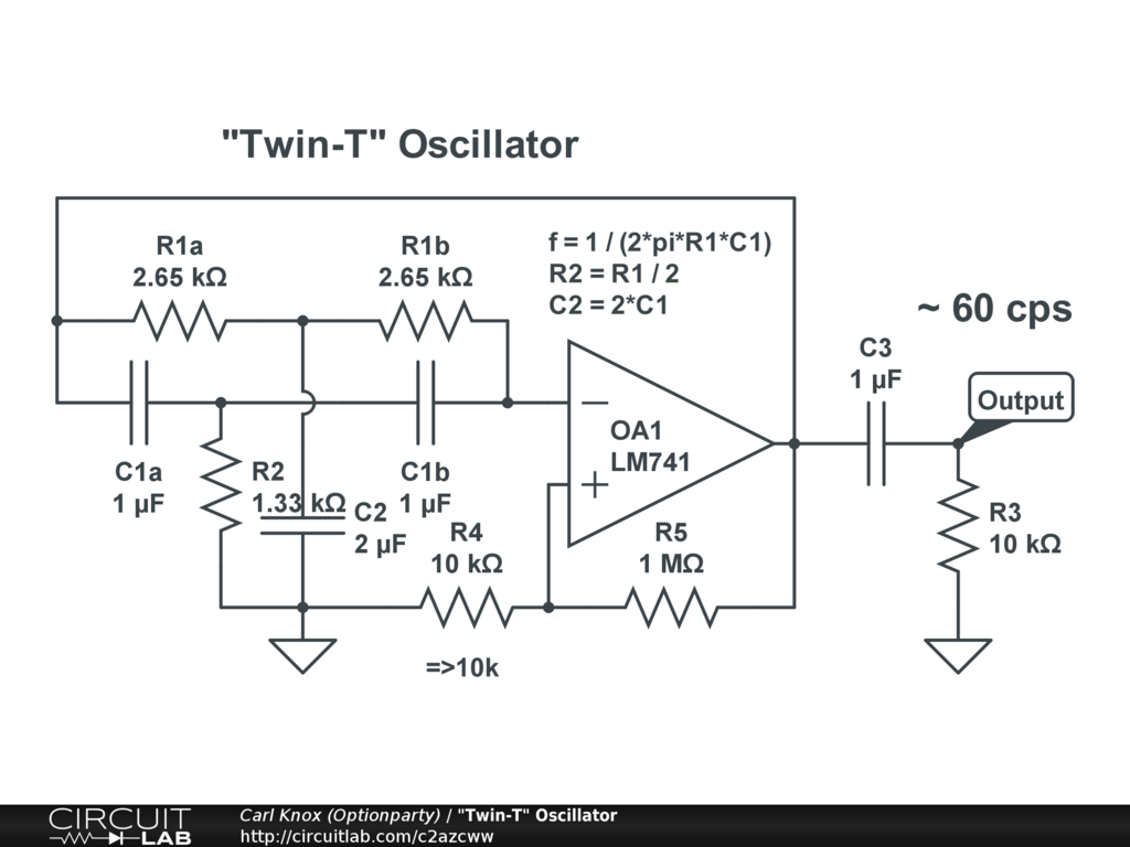 Twin T Oscillator Circuitlab To Sine Wave Converter Circuit Diagram Electronic Circuits