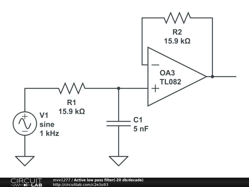 Active Low Pass Filter 20 Db Decade Circuitlab Schematic Diagram Circuit