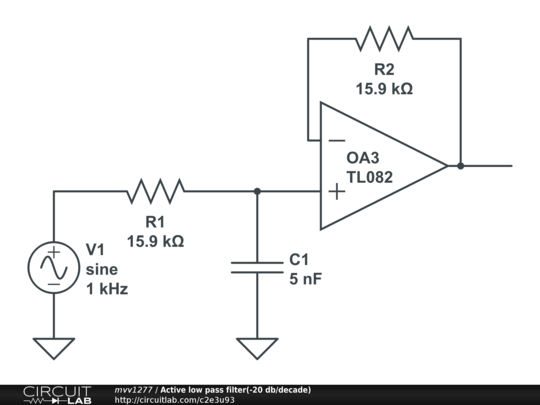 active low pass filter -20 db  decade