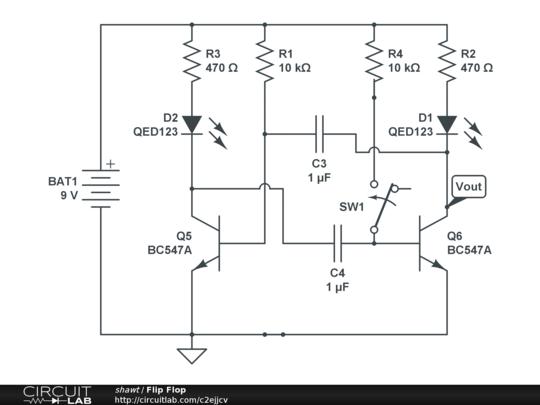 flip flop circuitlab