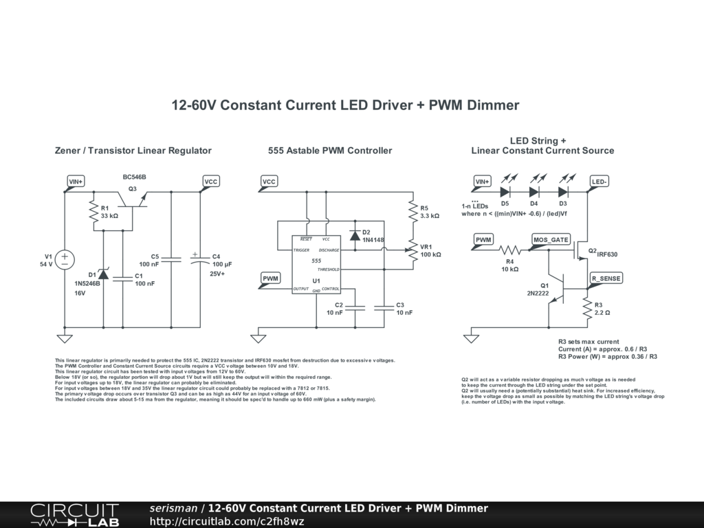 12-60V Constant Current LED Driver + PWM Dimmer - CircuitLab