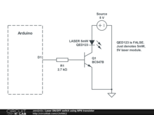 Laser ON/OFF switch using NPN transistor
