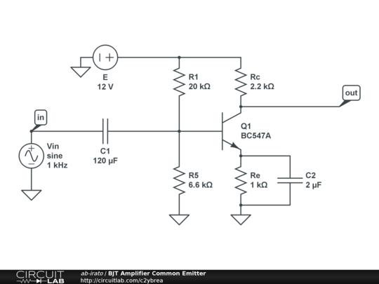 BJT Amplifier Common Emitter CircuitLab