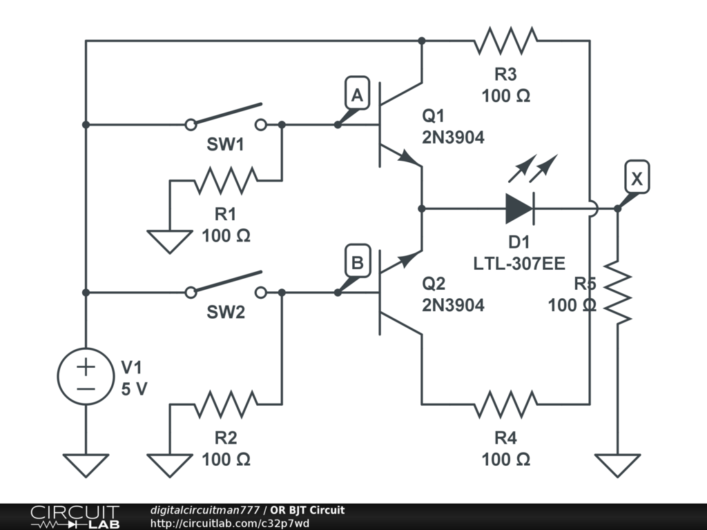 Or Bjt Circuit Circuitlab Diagram Xor Gate