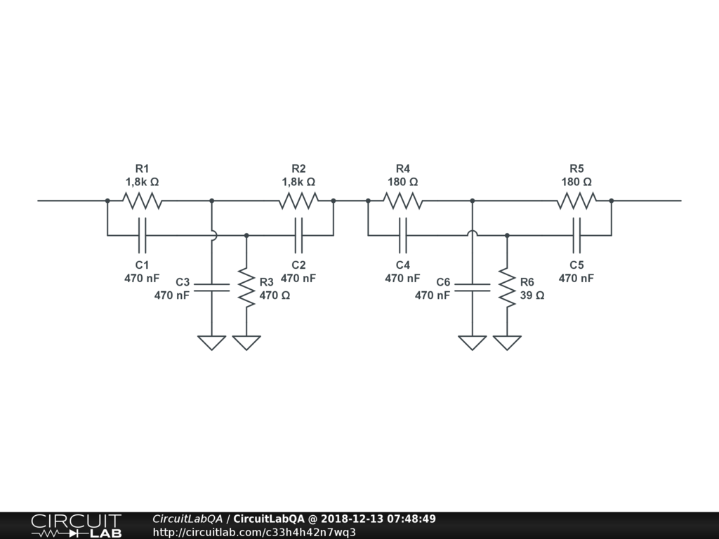 Twin T Filters In Series Electronics Qa Circuitlab This Translates Into The Circuit Schematic Hi