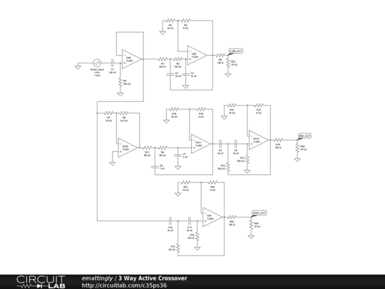 3 Way Active Crossover Circuit Diagram | 3 Way Active Crossover Circuitlab