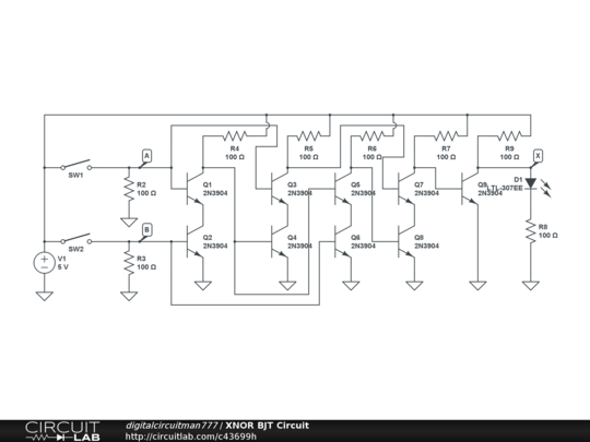 XNOR BJT Circuit - CircuitLab Xnor Schematic on