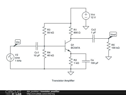 transistor amplifier circuitlab. Black Bedroom Furniture Sets. Home Design Ideas