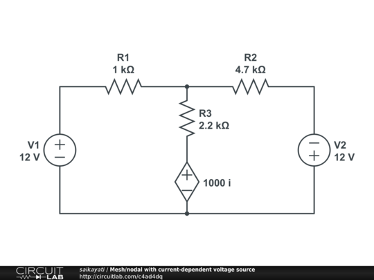 mesh  nodal with current-dependent voltage source