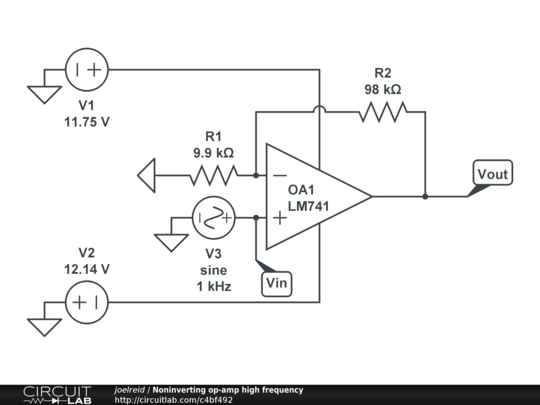 noninverting op-amp high frequency