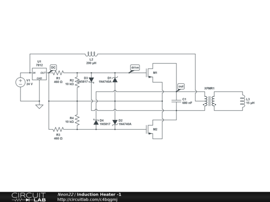 Induction Heater -1 - CircuitLab on ccfl inverter schematic, pulse induction metal detector schematic, induction generator schematic, homemade plasma cutter schematic, induction diagram, h bridge schematic, induction heating, induction motor schematic, shunt schematic, electronic speed control schematic, simple heating circuit schematic, phase converter schematic, igbt schematic, zvs driver schematic, electric motor schematic,