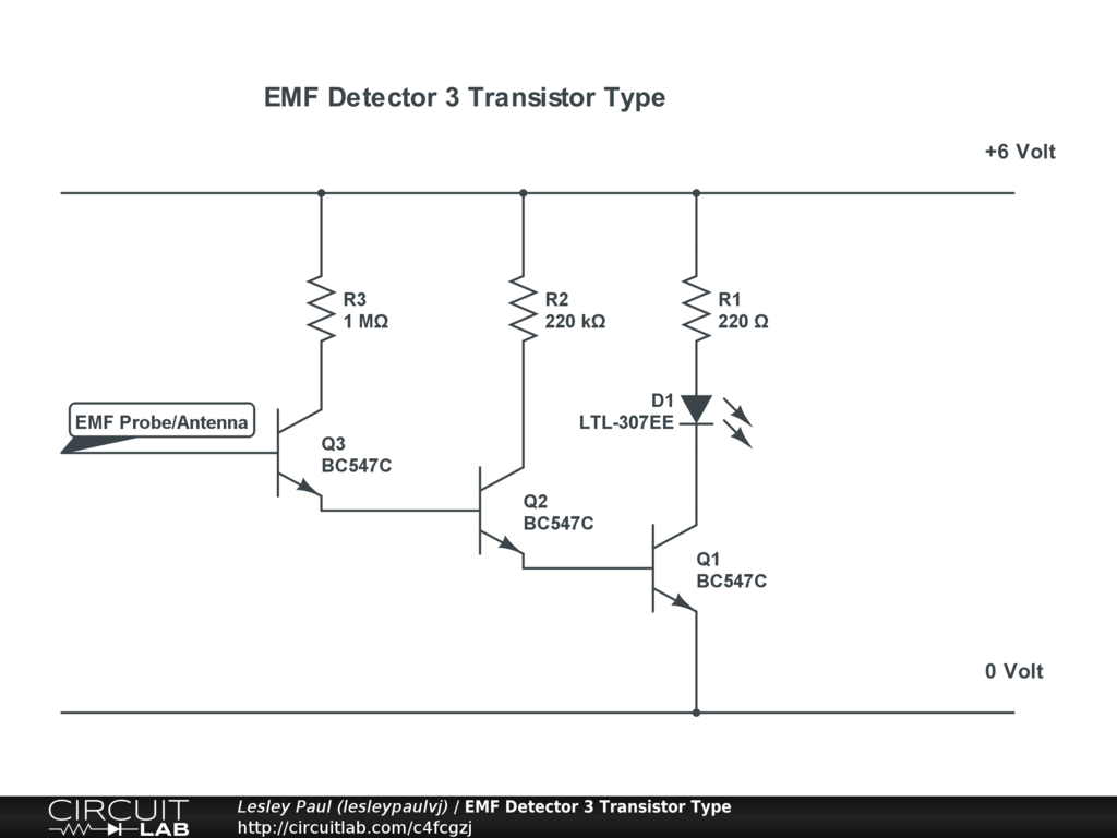 Emf Detector 3 Transistor Type Circuitlab Circuit