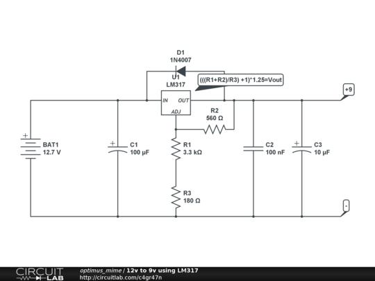 12v to 9v using lm317 circuitlab rh circuitlab com AAA to 9V DC 3V Battery