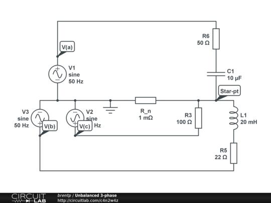 unbalanced 3-phase rlc loads