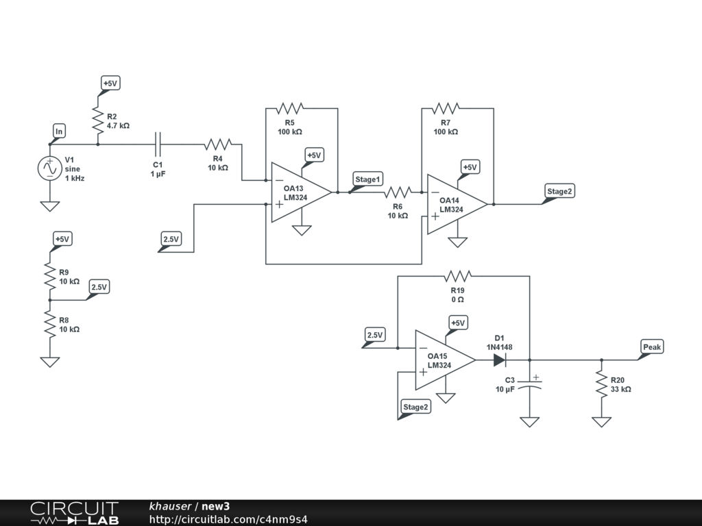 Op Amp Peak Detector Audio Electronics Circuitlab Amplifier Differences On 2 Different Circuits Precision Amplifiers The
