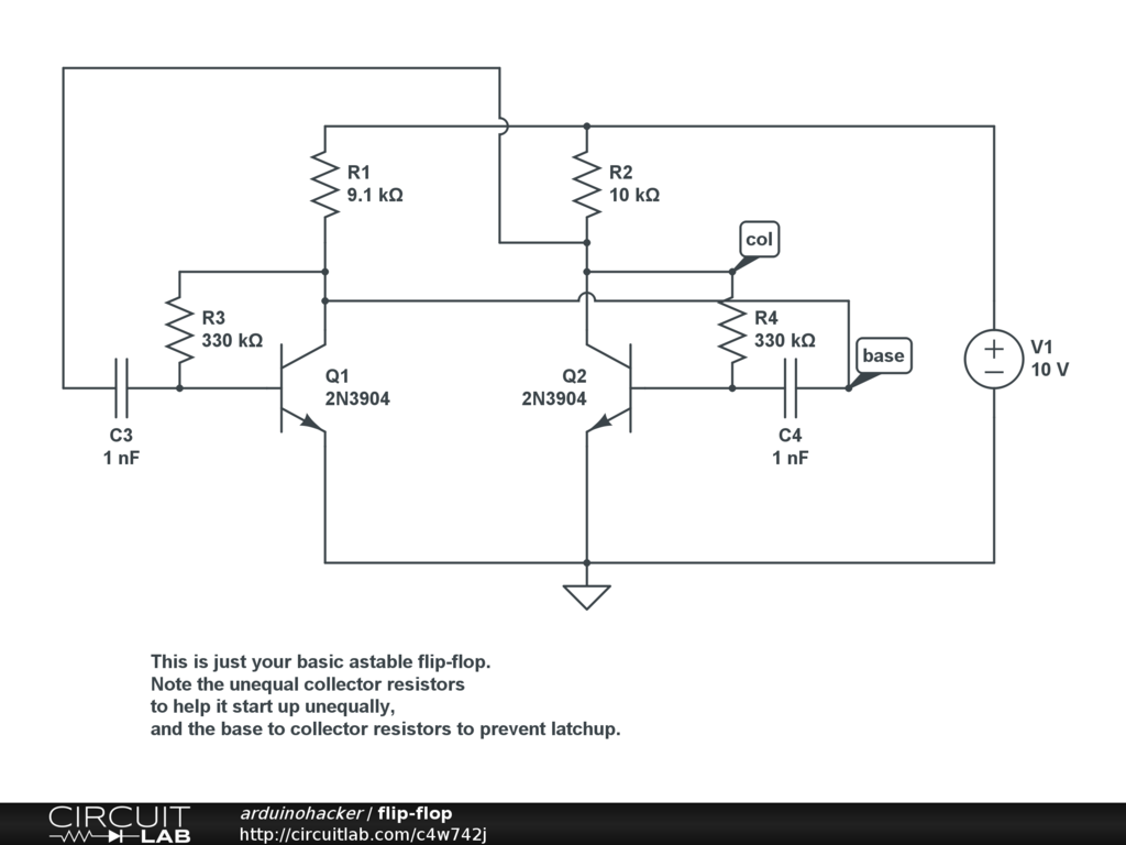 Astable Multivibrator Doesnt Oszillate Circuitlab Support Forum Monostable Circuit Its