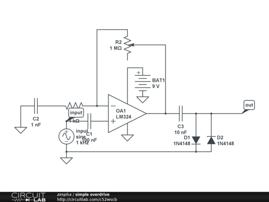 simple overdrive - CircuitLab on