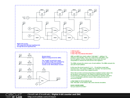 Digital 4-bit counter and DAC - CircuitLab on