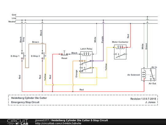 air cylinder schematic heidelberg cylinder die cutter e stop circuit circuitlab  heidelberg cylinder die cutter e stop