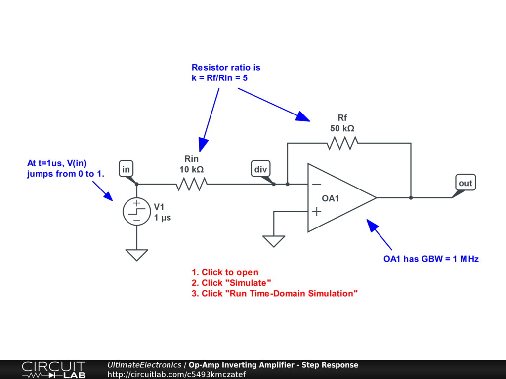 Op-Amp Inverting Amplifier - Step Response