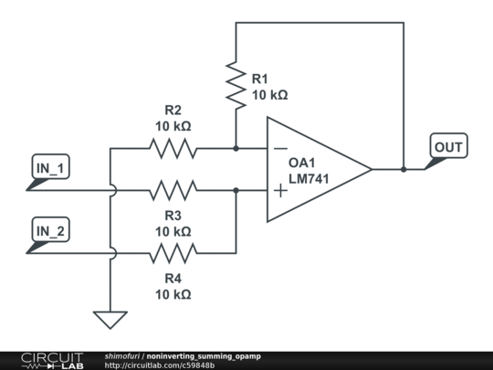 noninverting summing opamp
