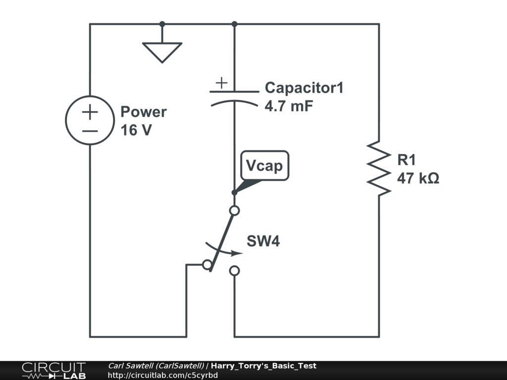 Simple Circuit To Measure Discharge Over Time Circuitlab Support Capacitor Discharging Forum