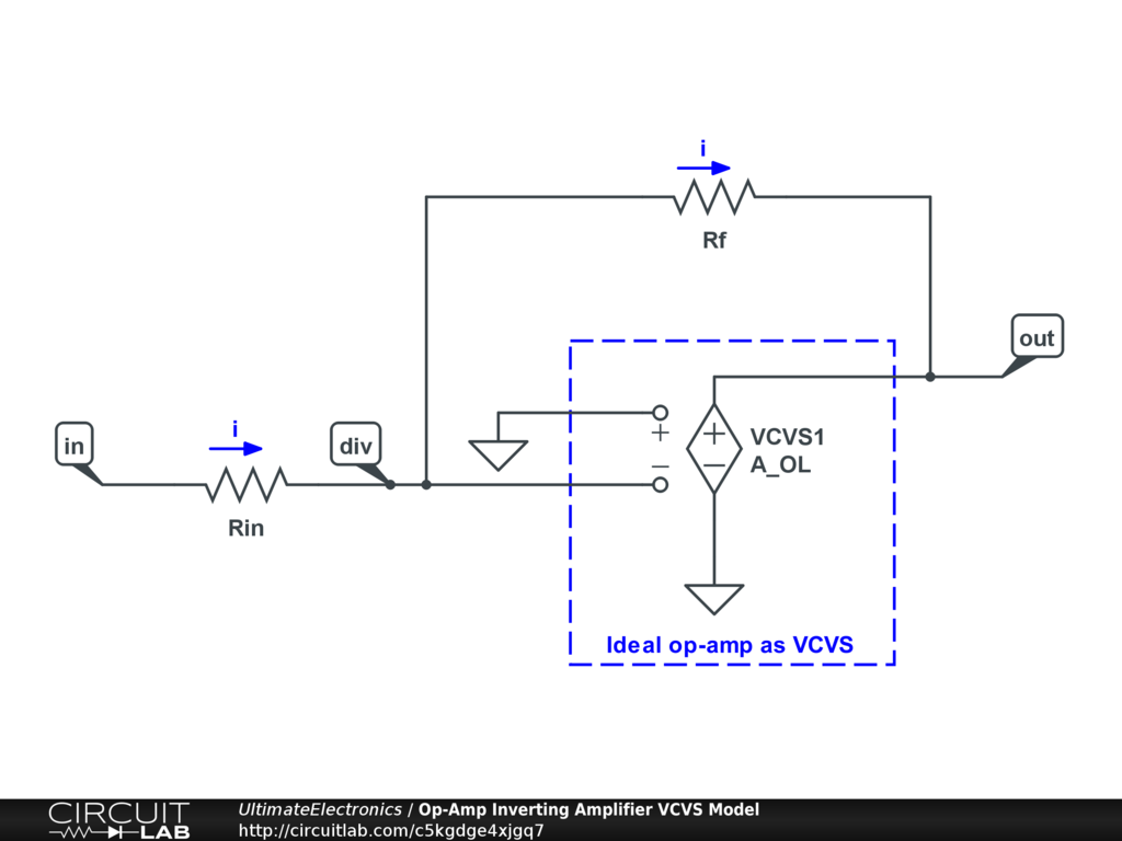 Op-Amp Inverting Amplifier VCVS Model