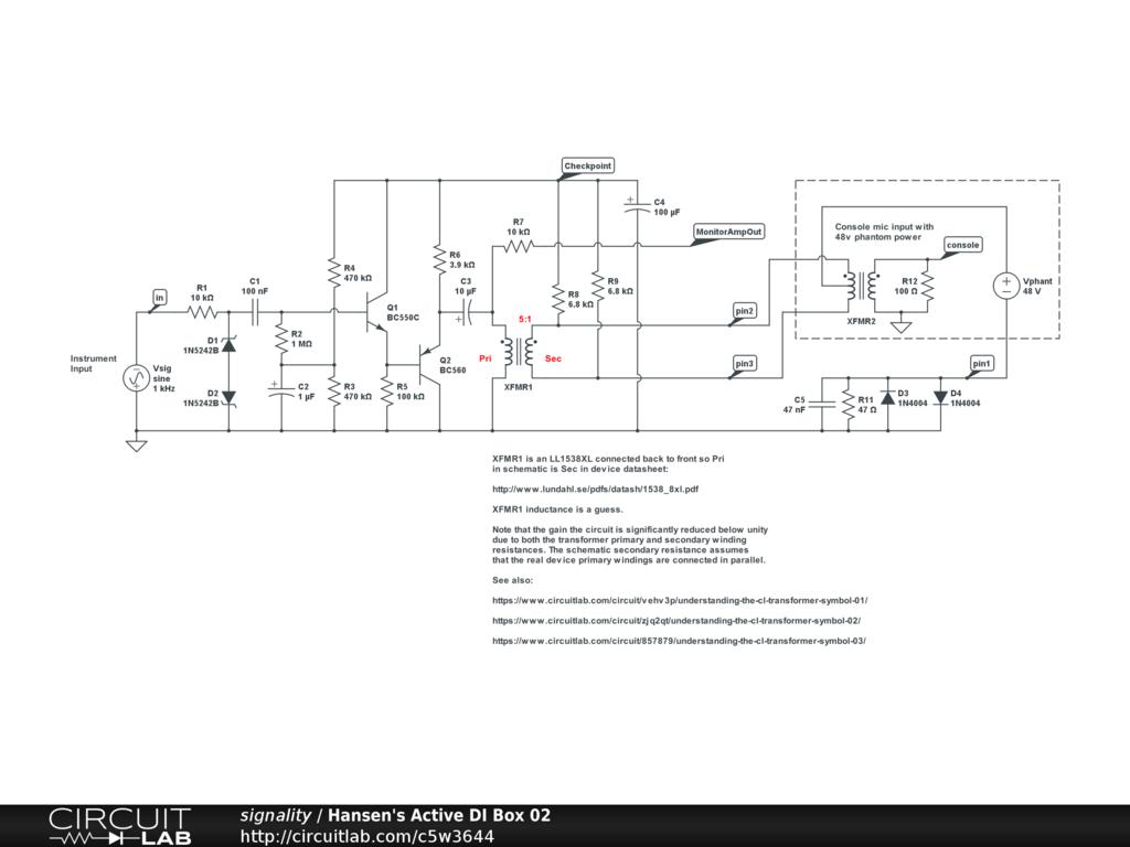 Hansen's Active DI Box 02 - CircuitLab on