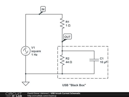usb inrush current schematic