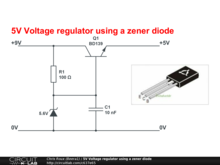 5V Voltage regulator using a zener diode