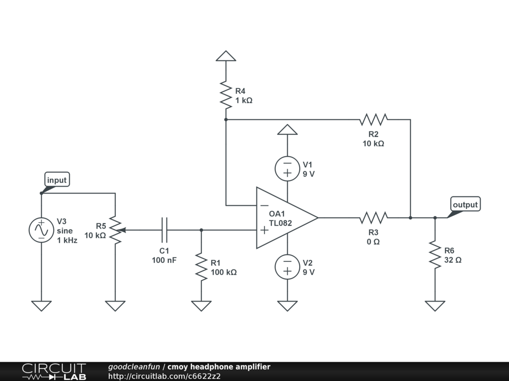 Cmoy Headphone Amplifier Circuitlab Head Phone Circuit