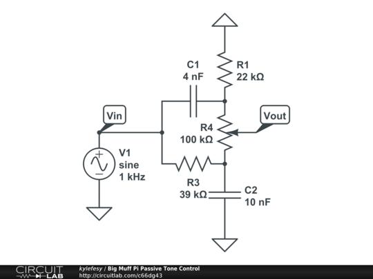 Big Muff Pi Passive Tone Control Circuitlab