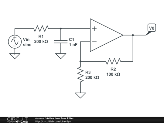 first order active low pass filter  sallen-key