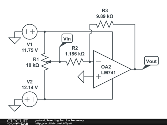 inverting amp low frequency