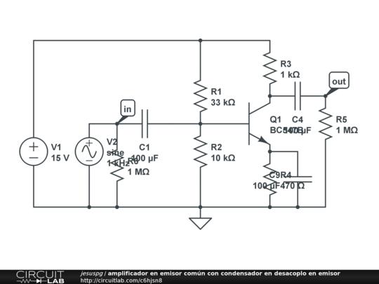 amplificador en emisor com u00fan con condensador en desacoplo en emisor