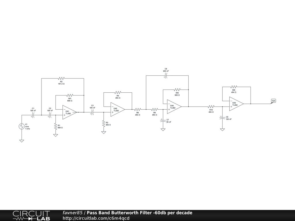 Pass Band Butterworth Filter 60db Per Decade Circuitlab Circuit