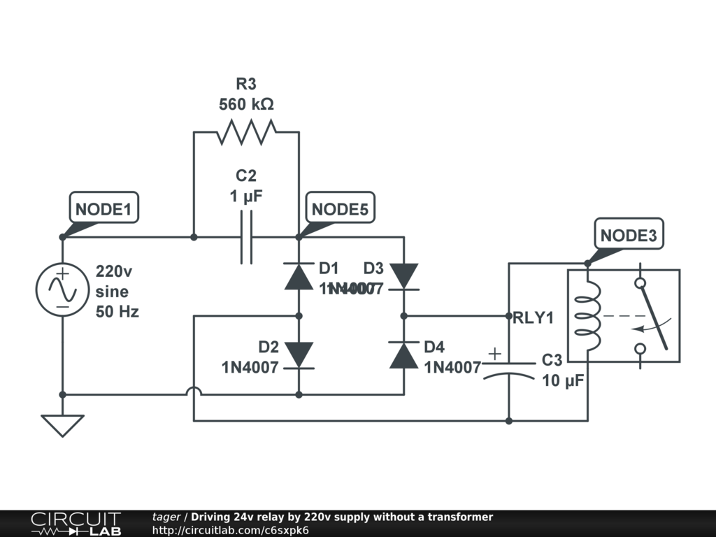 Driving 24v relay by 220v supply without a transformer circuitlab circuit pooptronica