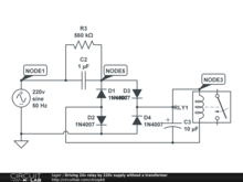 Driving 24v relay by 220v supply without a  transformer