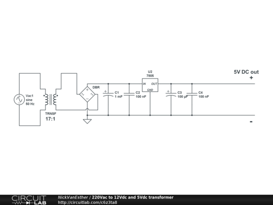 220vac To 12vdc And 5vdc Transformer on no dc to 120v transformer schematic