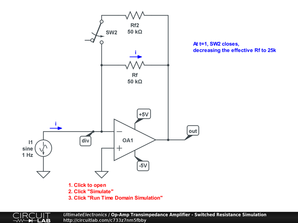 Op-Amp Transimpedance Amplifier - Switched Resistance Simulation