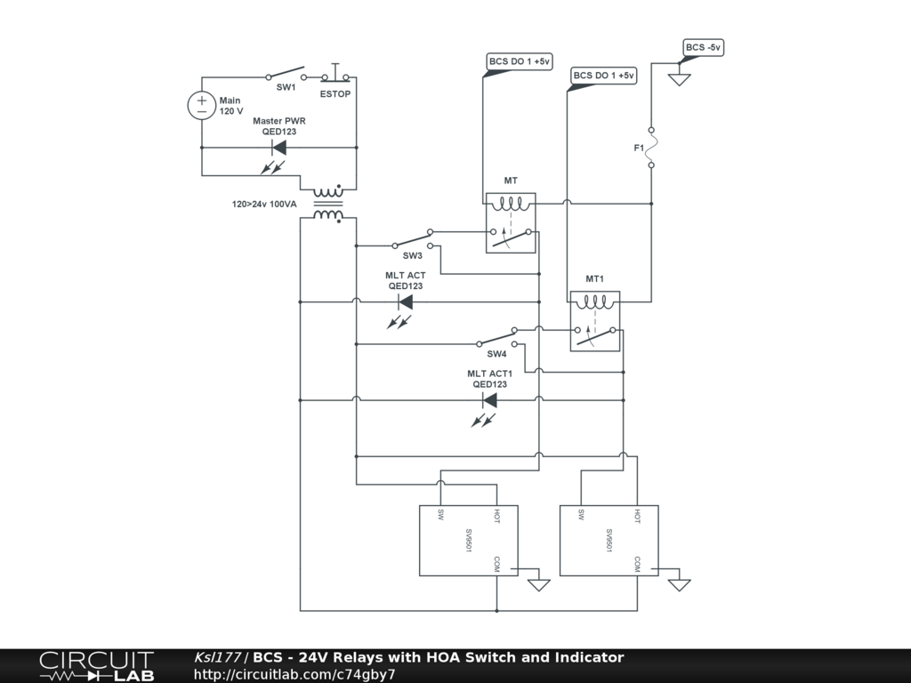 Hoa Switch Schematic Simple Wiring Diagram Page Relay Circuit Bcs 24v Relays With And Indicator Circuitlab