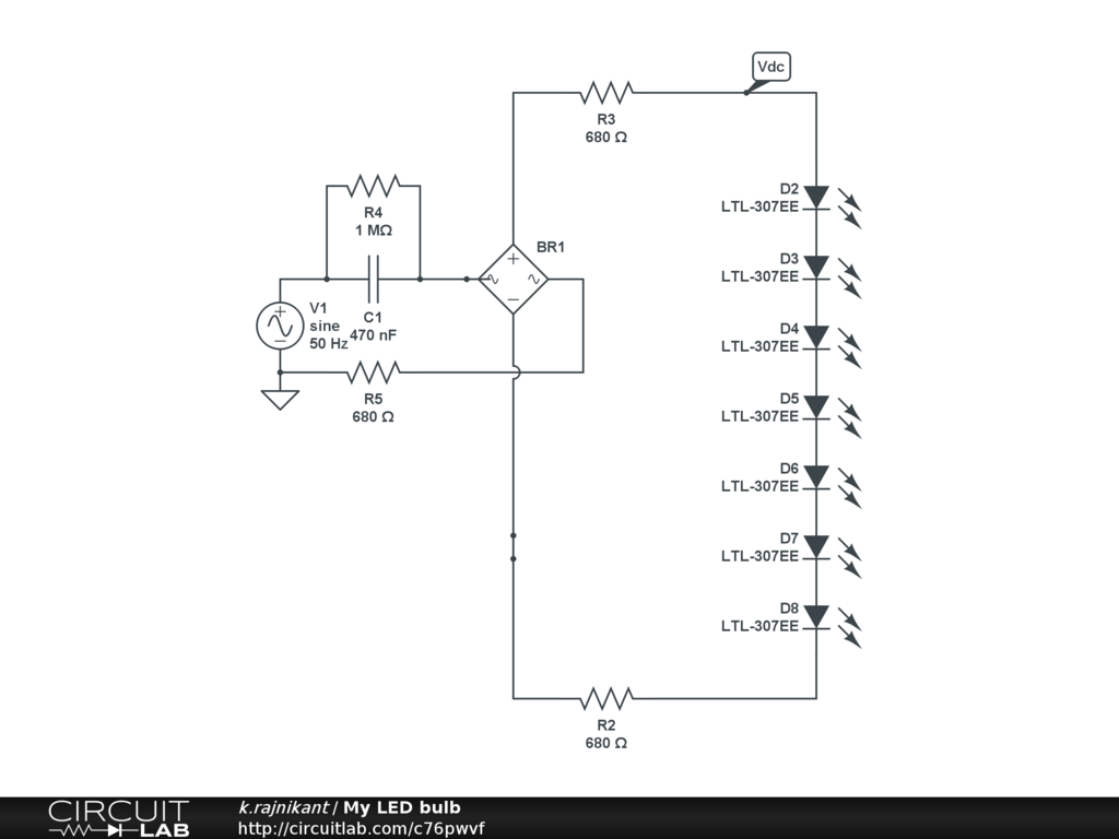led light bulb circuit diagram